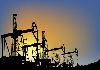 Oil Field over Sunset Vector Illustration - бесплатный vector #406485