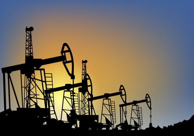 Oil Field over Sunset Vector Illustration - Free vector #406485
