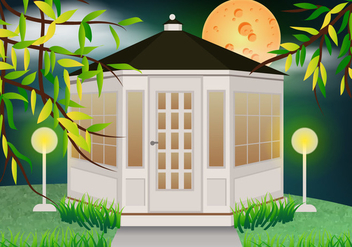 White Gazebo In The Garden With Moon Light Vector - бесплатный vector #406505