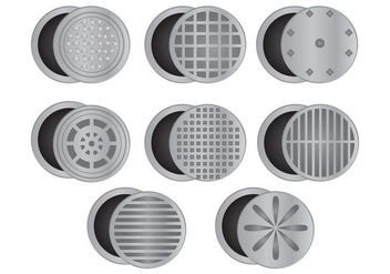 Set Of Manhole With White Background - бесплатный vector #406535