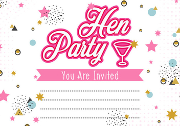 Hen Party Invitation Template Illustration - бесплатный vector #406565