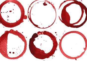 Vector Set Of 6 Wine Stains - vector gratuit #406625