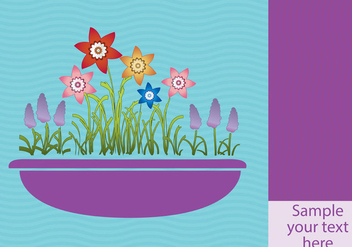 Spring Flowers In Planter Background - vector #406735 gratis