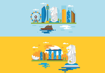Merlion Illustration Flat Design - vector #407175 gratis