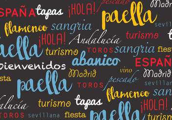 Spanish Words Pattern - vector gratuit #407215