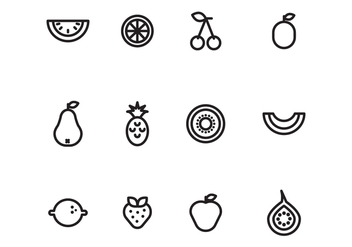 Outlined Fruits - vector #407245 gratis