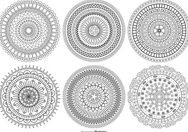 Mandala Style Vector Shapes Collection - Free vector #407295