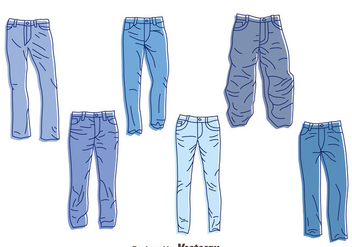 Hand Drawn Blue Jeans Vector Set - Free vector #407605