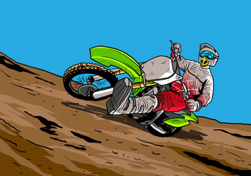 Dirt Bikes Accelerating In Dirt Track - vector gratuit #407715