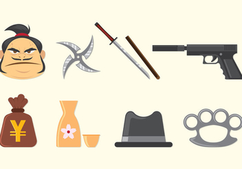 Set Of Yakuza Icons - Kostenloses vector #407845