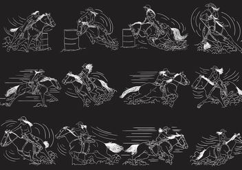Barrel Racing Illustration Set - Free vector #408225