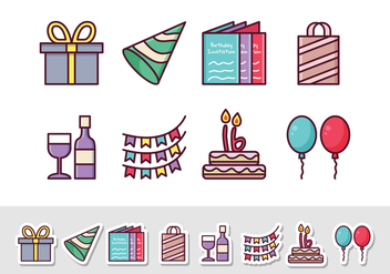 Free Birthday Sticker Icons - vector gratuit #408435