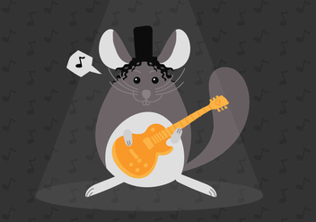 Rocka and Roll Chinchilla Vector Illustration - vector #408655 gratis