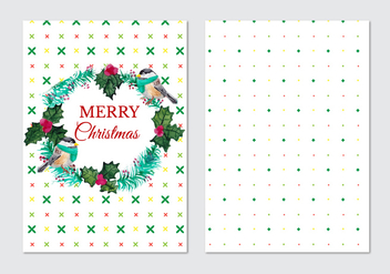 Card With Fir Wreath And Birds Free Vector - Kostenloses vector #408775