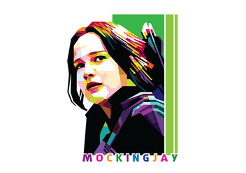 Katniss Everdeen Mocking Jay in Popart Portrait - WPAP - Kostenloses vector #408795