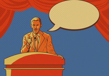 Man Giving Speech At The Lectern - Free vector #408955