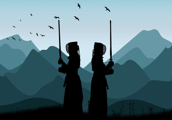 Kendo Mountain Training Free Vector - vector gratuit #408965