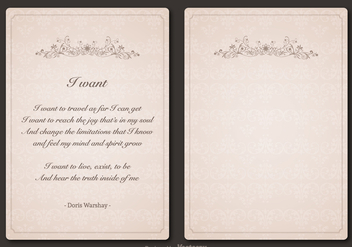 Free Poem Vector Vintage Template Design - vector #408995 gratis