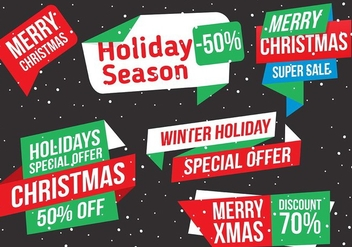 Free Vector Christmas Labels - vector gratuit #409095