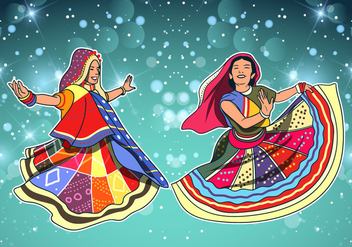Fun Dancer At Garba - vector gratuit #409145