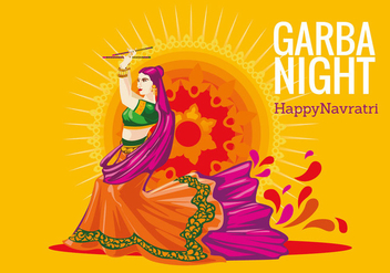 Vector Design of Woman Playing Garba Dance - Free vector #409215