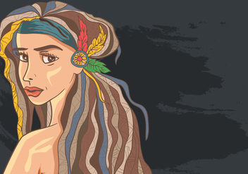 Woman In Dreads Hair With Boho Style - бесплатный vector #409335