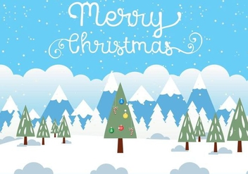 Free Vector Christmas Landscape Illustration - Free vector #409435