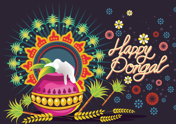 Vector Illustration of Happy Pongal Greeting Background - Free vector #409635