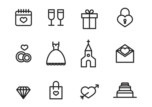 Set of Wedding Icons - vector #409815 gratis