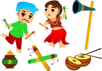 Free Couple Kids Dance Garba Vector Illustration - Free vector #409925