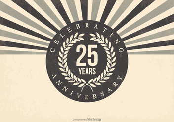 Retro 25th Anniversary Illustration - vector gratuit #409935
