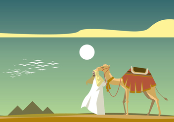 Egyptian with Camel in front of Piramide Vector - vector gratuit #409965