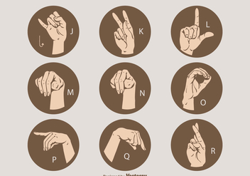 Free Vector Sign Language Letter Set J - R - vector #410105 gratis