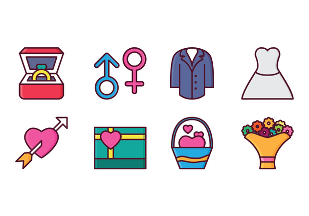 Free Wedding Icon Set - vector gratuit #410215
