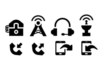 Comunication icons black on white - vector gratuit #410335