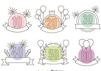 Anniversary Line Sign Vector Set - Kostenloses vector #410425