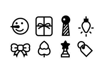 Christmas icons with black color - Free vector #410465