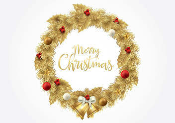 Christmas Gold Wreath Vector - vector gratuit #410655