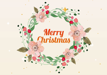 Free Christmas Watercolor Wreath Vector - Free vector #410845