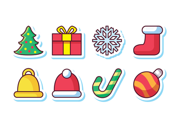 Free Christmas Sticker Icon Set - vector gratuit #410935