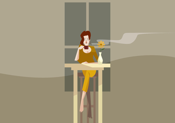 Women With a Cup of Coffe in The Evening Vector - Free vector #411015