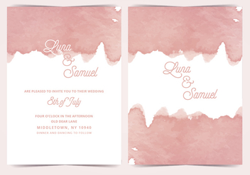 Pink Watercolor Vector Wedding Invite - vector gratuit #411115