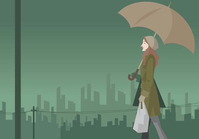 Girl Walking in the Rain With Umbrella Vector - бесплатный vector #411155