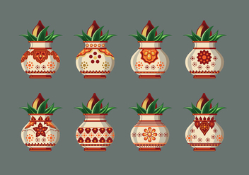 Set Vector illustration of Kalash with Coconut and Mango Leaf - Free vector #411165