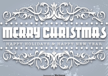 Ornamental Merry Christmas Template - Kostenloses vector #411205