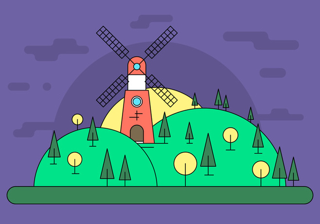 Windmill Hill Vector Illustration - vector gratuit #411525