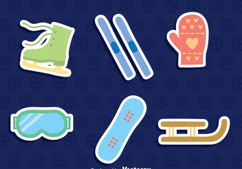 Winter Sport Element Icons Vector - Free vector #411695