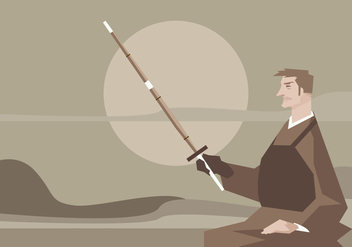 A Man Sitting with a Kendo Sword in Hand Vector - Kostenloses vector #411785
