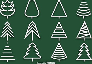 Vector collection of pine line icons - vector #411815 gratis
