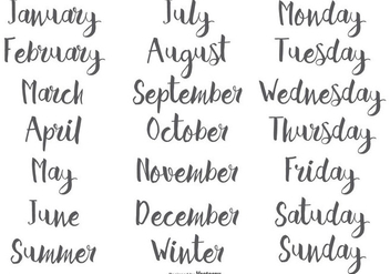 Hand Drawn Calligraphic Months and Days of the Week - Free vector #411825